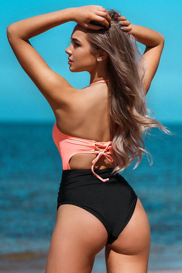 Pink and Black Cutout One-Piece Swimsuit
