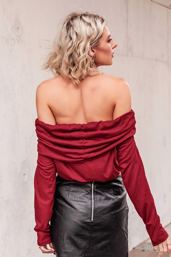 Wine Red Shirred Off Shoulder Top