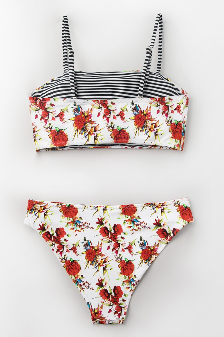 Floral Bandeau And Reversible Bikini
