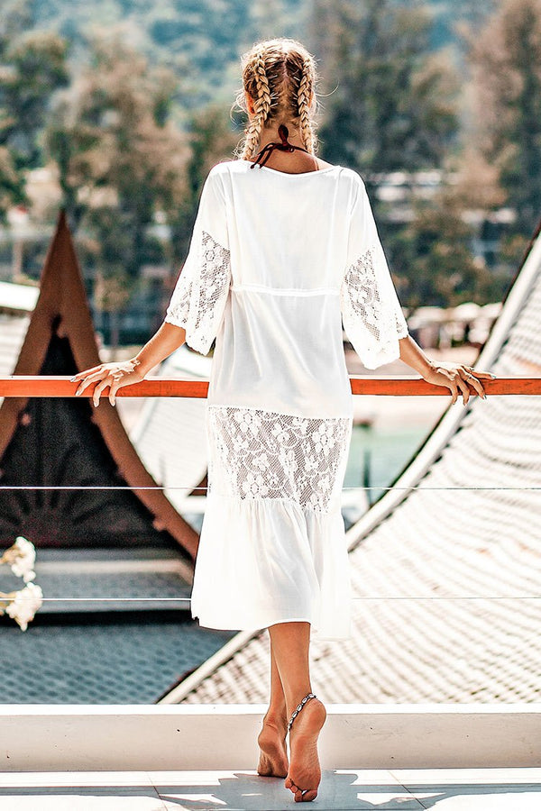 White Lace Sleeve Cover Up