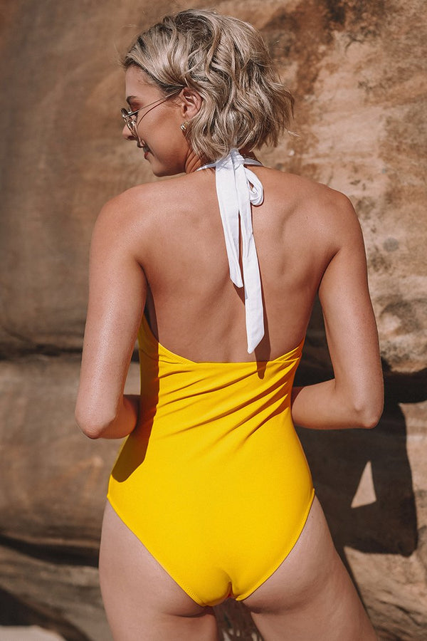 Yellow Pink And White Halter One Piece Swimsuit