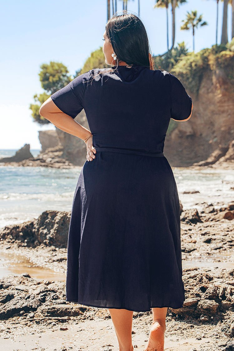 Navy Buttoned V-Neck Plus Size Dress