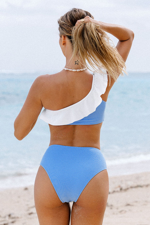 Blue One Shoulder Ruffle High Waisted Bikini