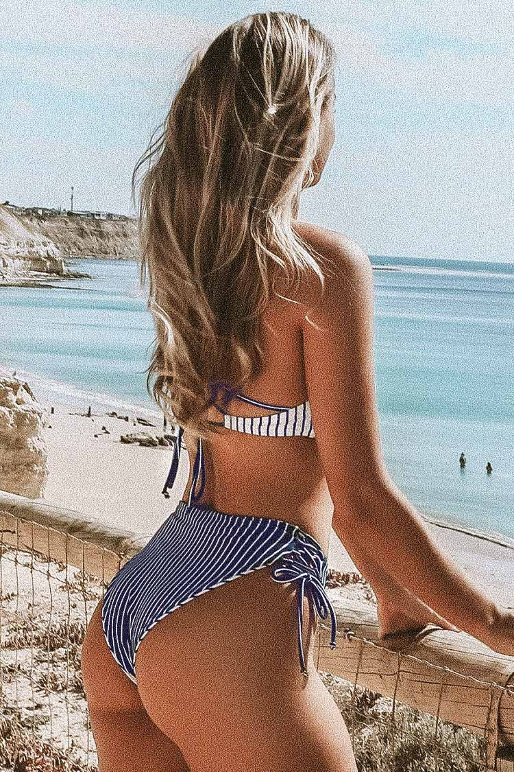 Navy And White Stripe Strappy Lace-Up Bikini