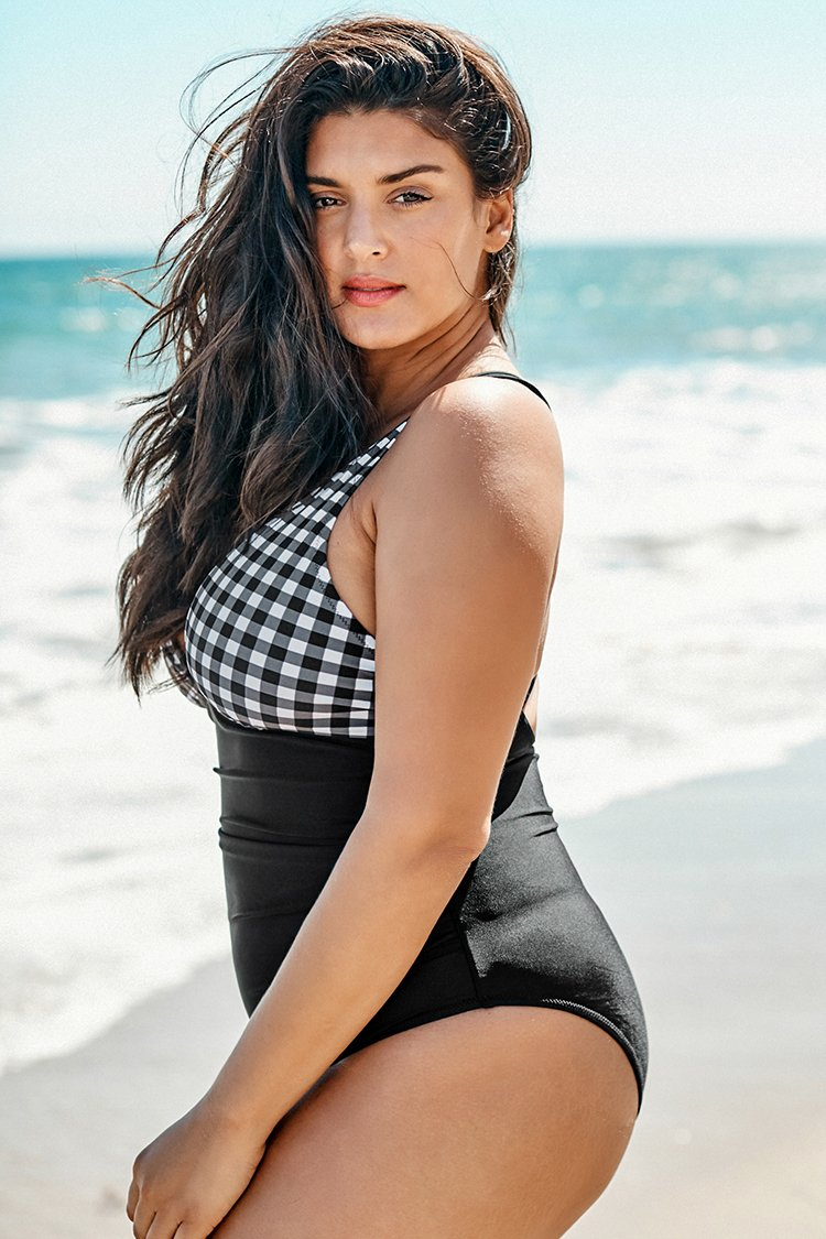 Black and White Gingham Ruched Plus Size One Piece Swimsuit