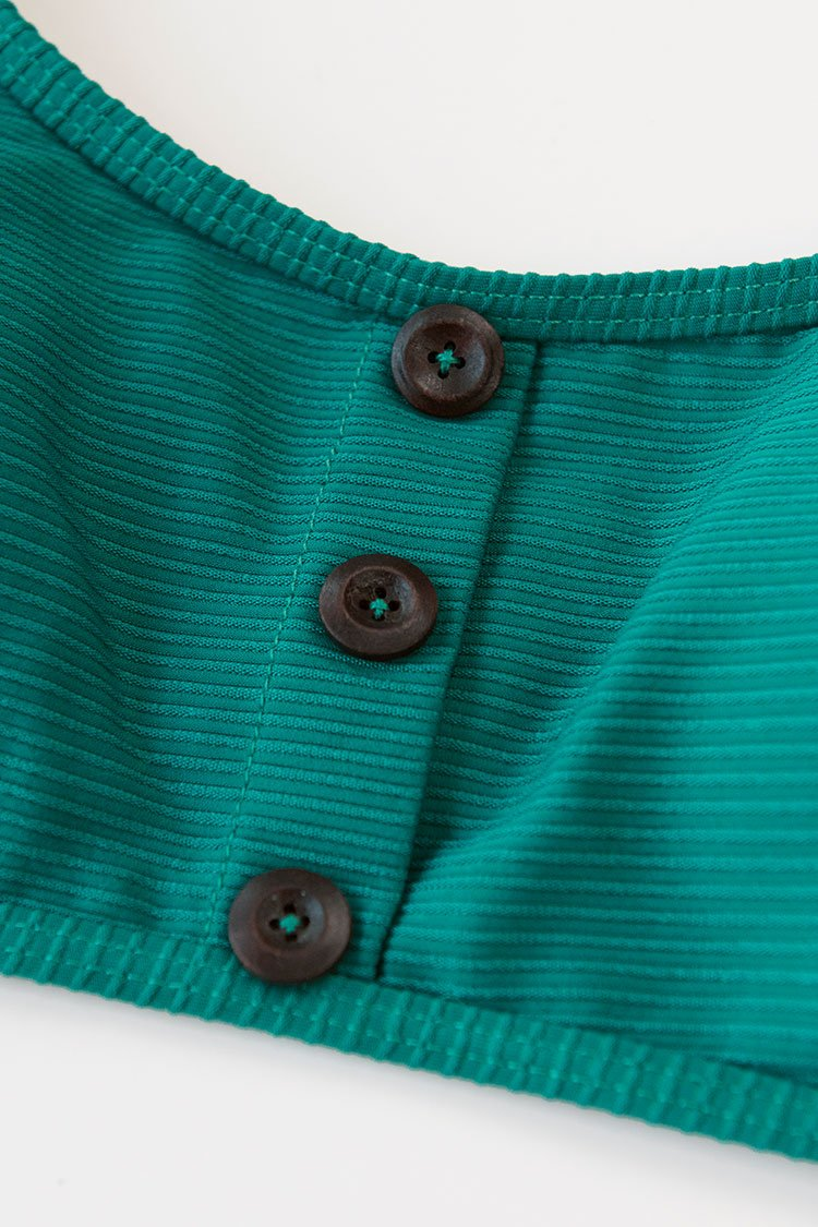 Ribbed Teal Solid Buttoned Bikini