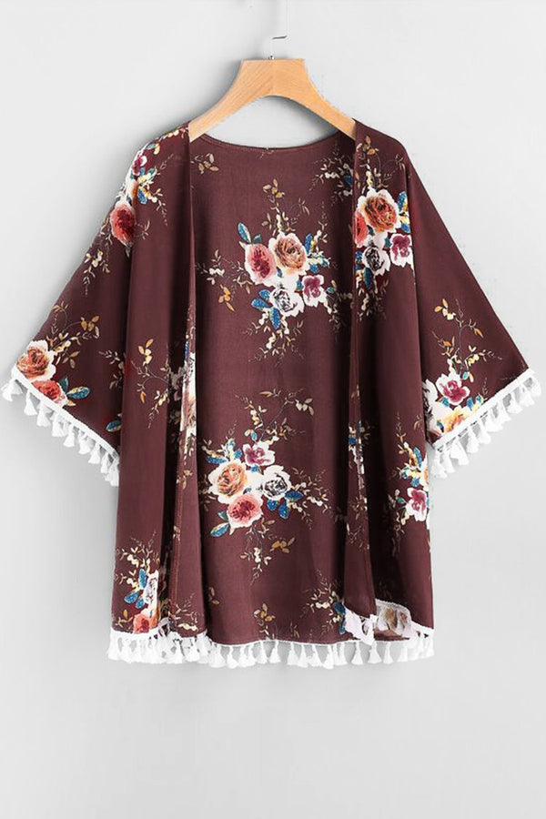 Maroon Floral Tasseled Cover Up