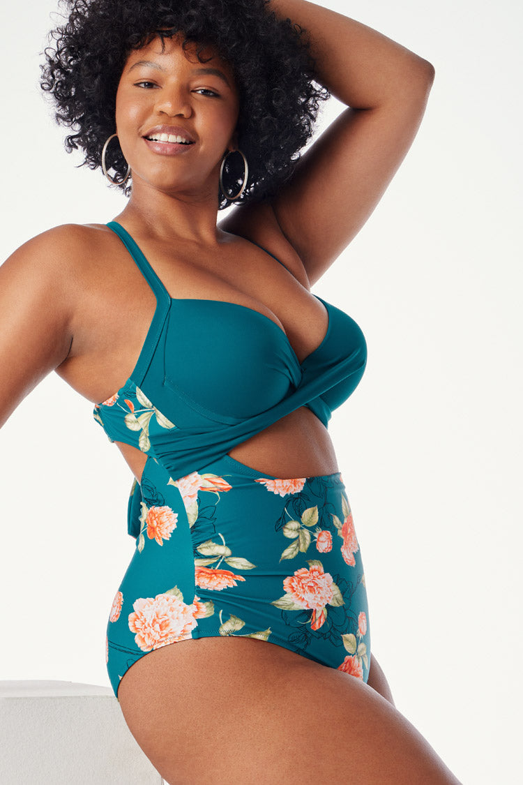 Blue Floral Twist Plus Size One Piece Swimsuit