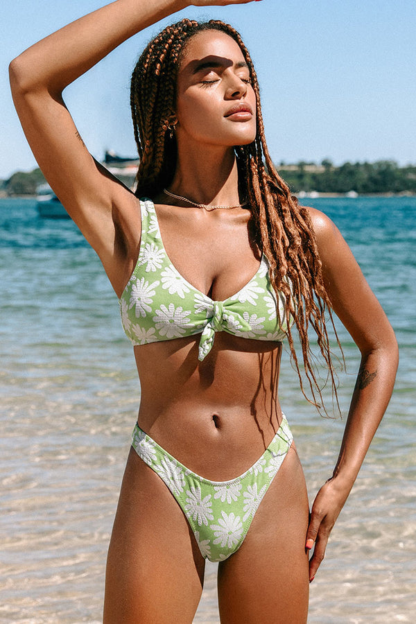 Light Green Floral Low Rise High Cut Bikini Bottom