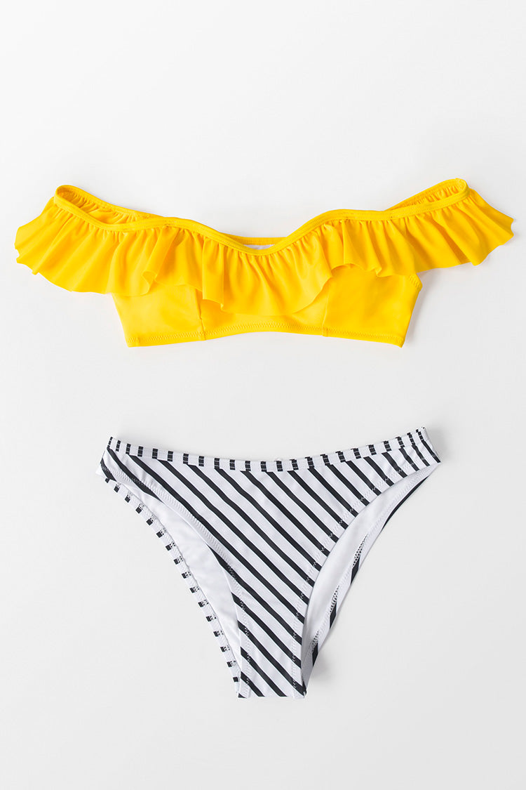 Yellow And Striped Ruffled Cold Shoulder Bikini