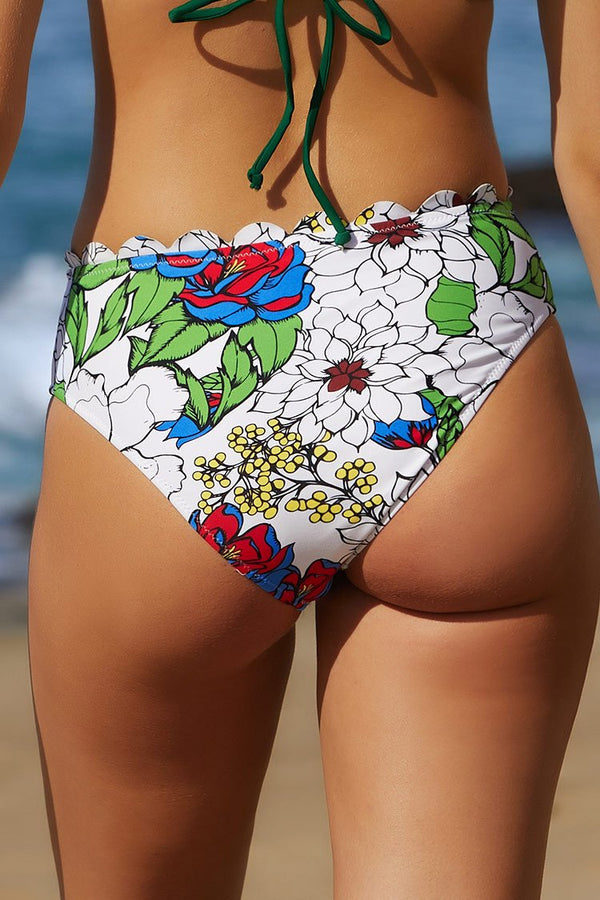 Tropical Floral Scallop Bikini Bottom