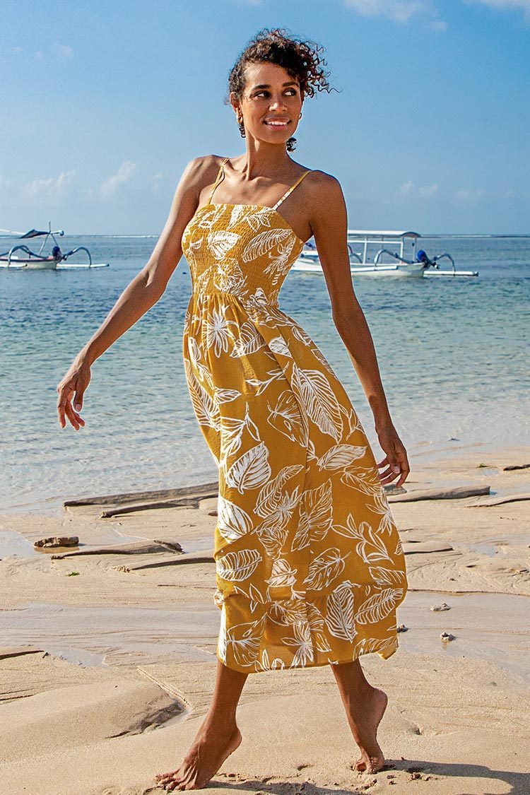 Yellow Leafy Smocked Midi Dress