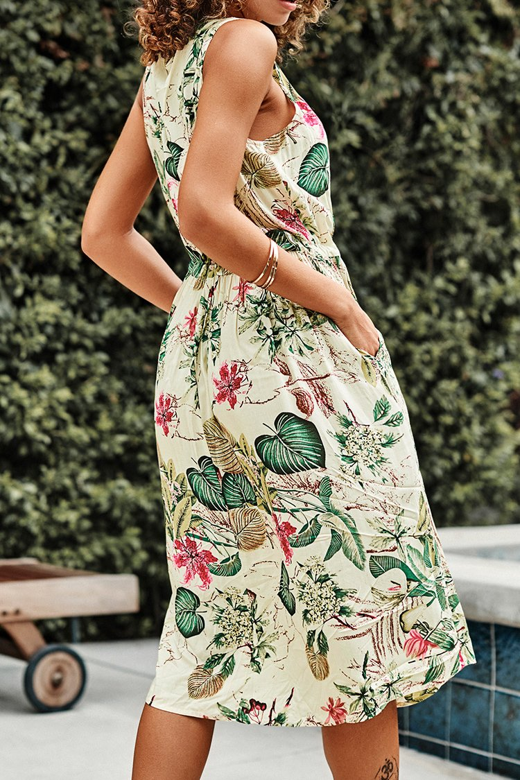 Sleeveless Tropical Print Dress with Pockets