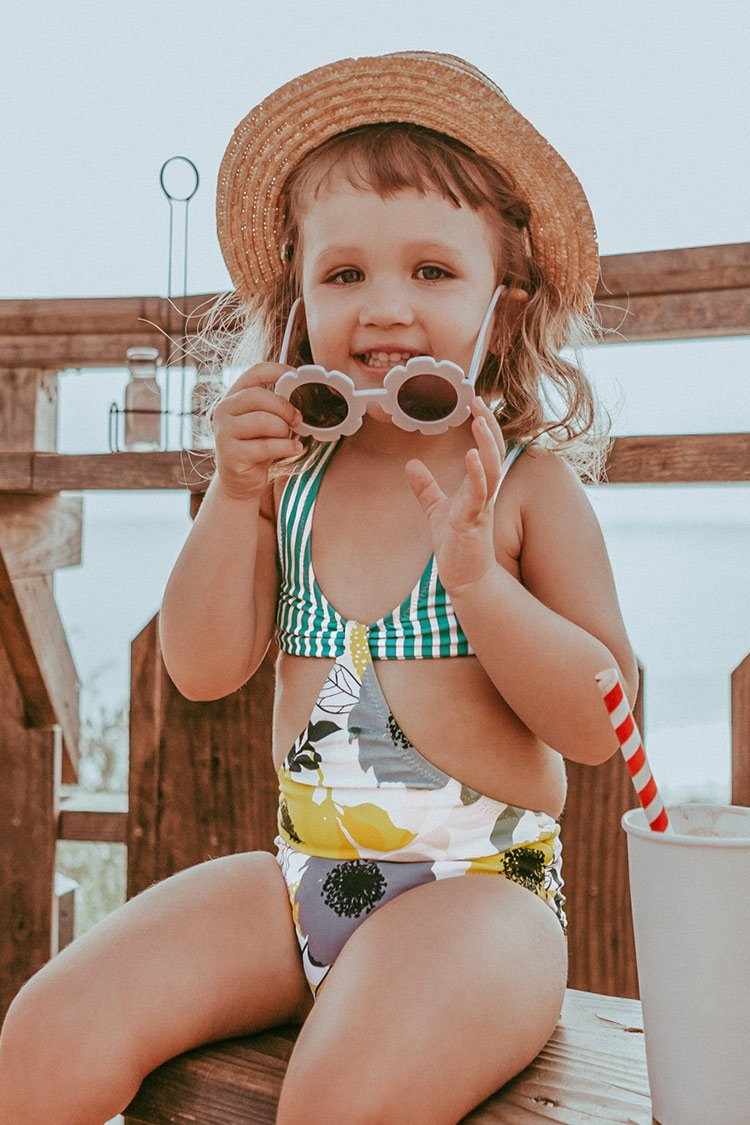Aqua Striped and Floral One-Piece Swimsuit For Toddler Girls and Girls