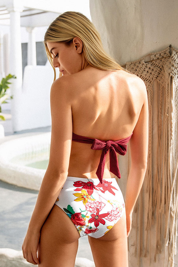 Red And Floral O-Ring High Waisted Bikini