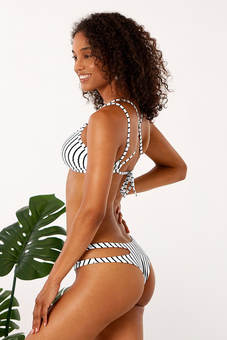 Striped Strappy Cutout Bikini
