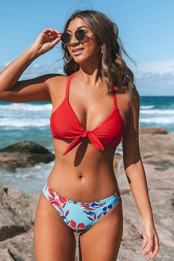 Red and Floral Print Low Waisted Bikini