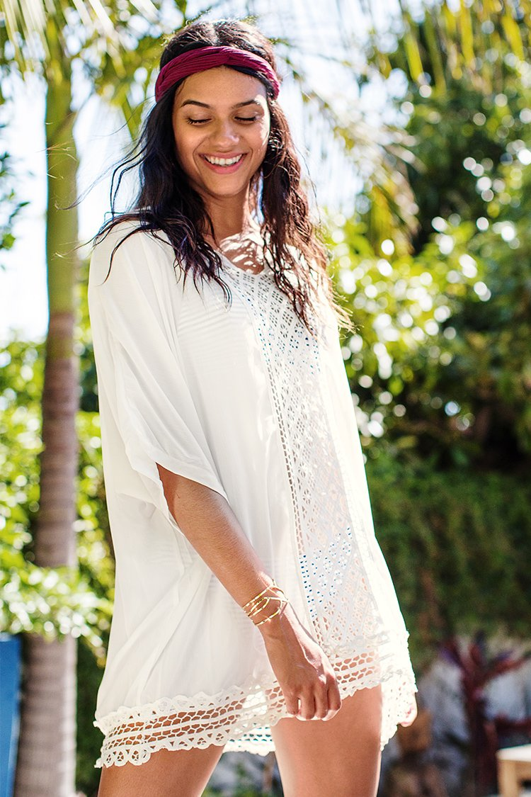 White Chiffon Stitching Lace Cover Up