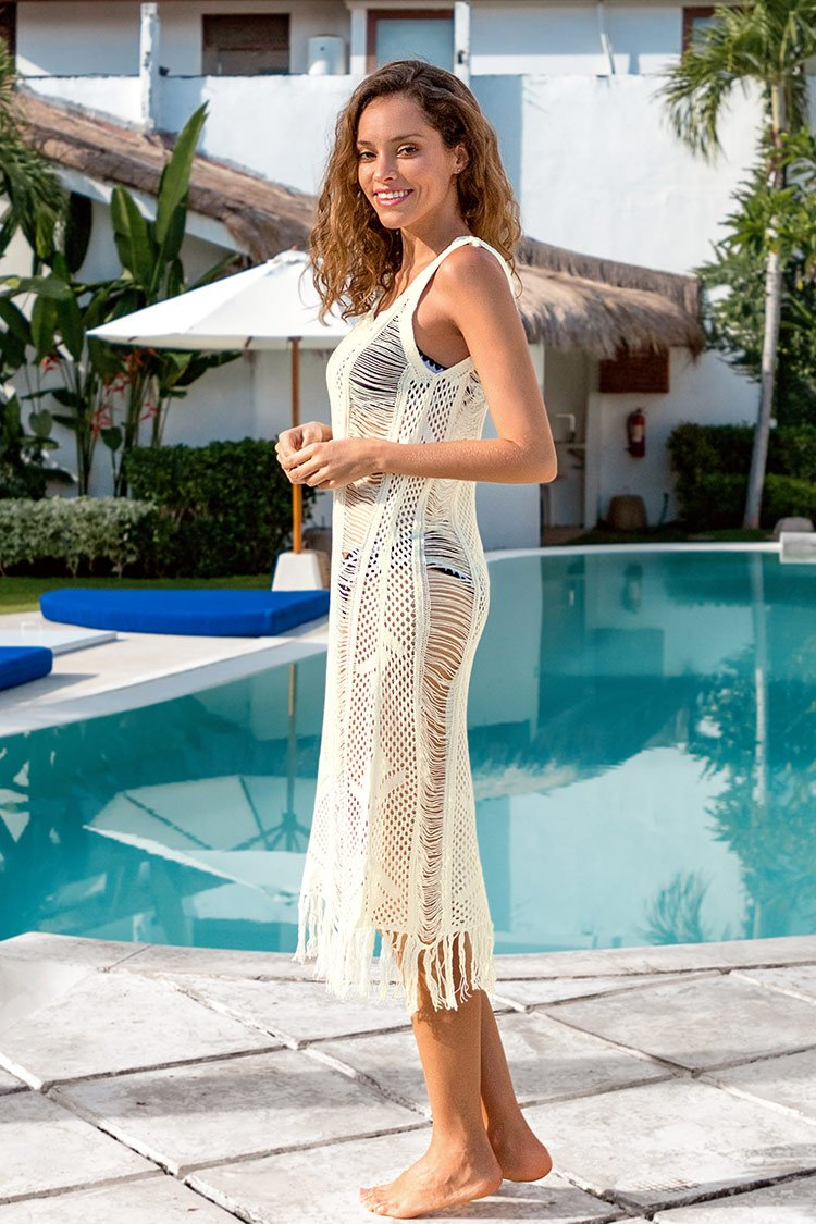 White Fringed Cover Up