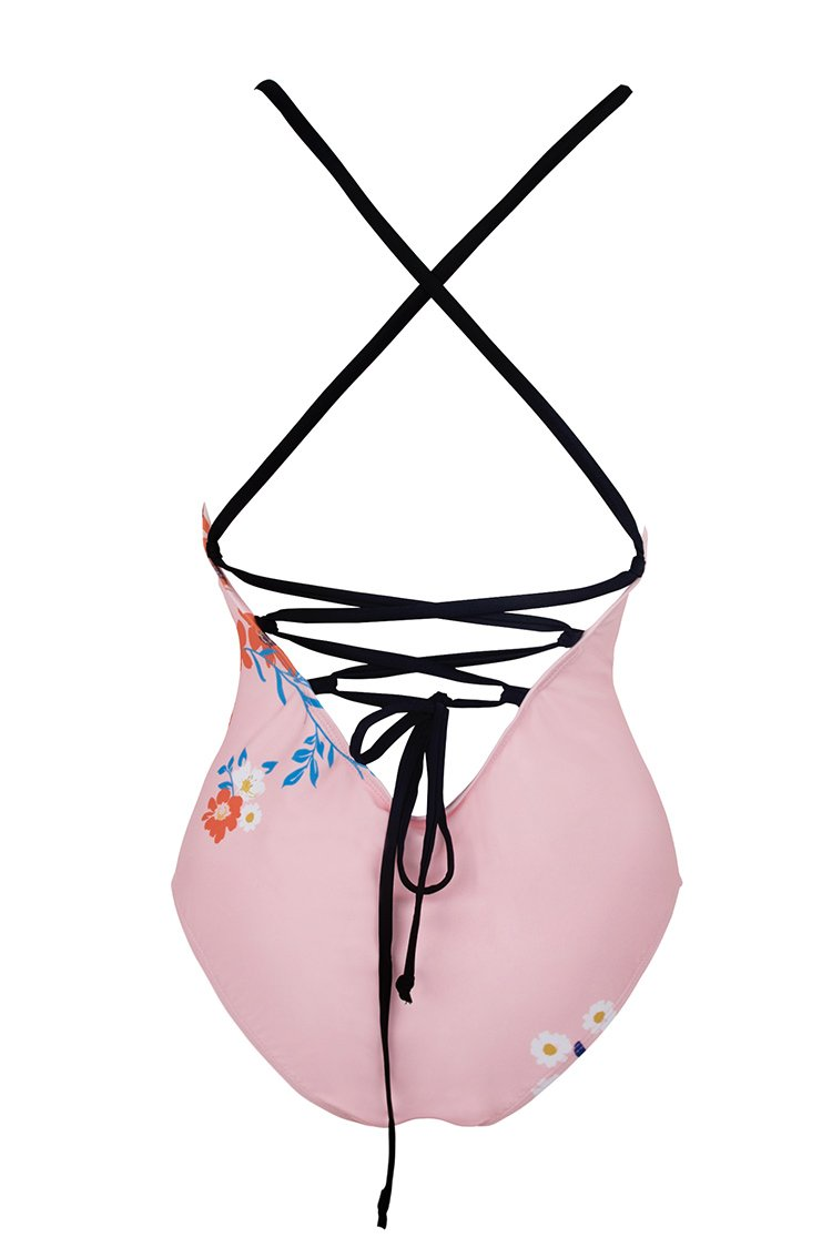 Pinky Floral Print Blocked One Piece Swimsuit