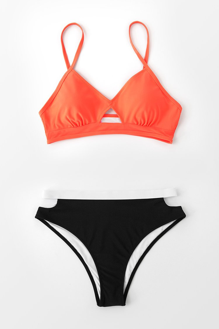 White and Black Cutout Bikini Bottom