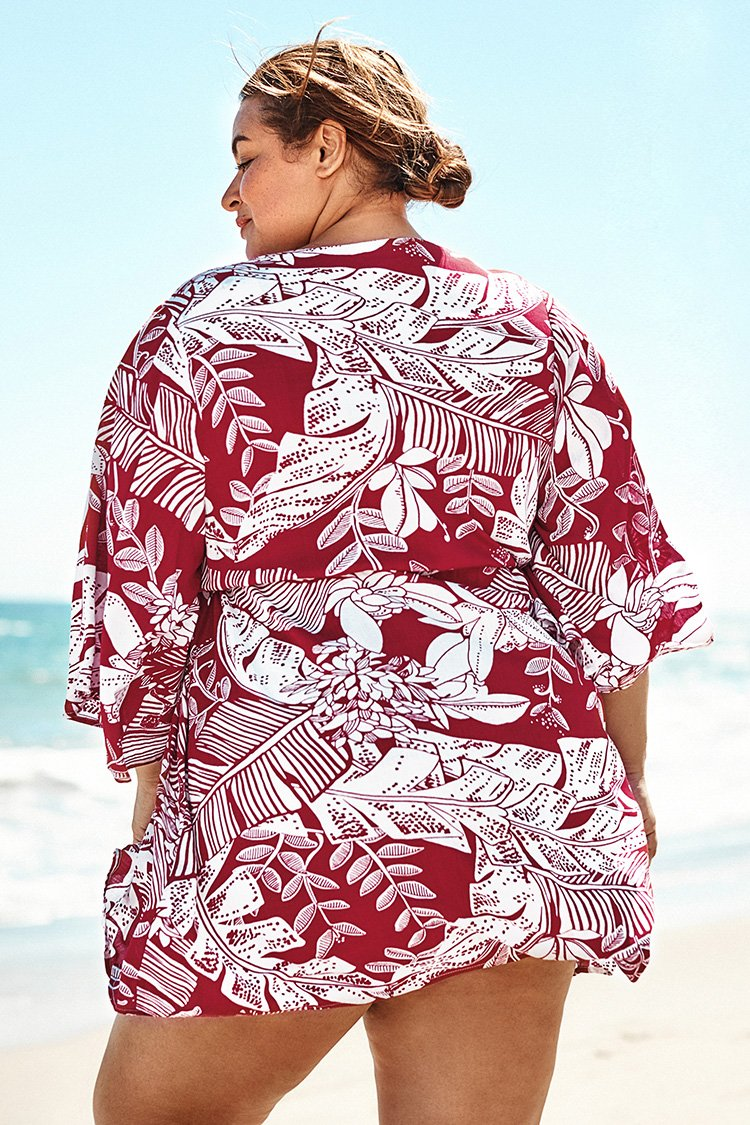 Red and White Floral Plus Size Cover Up