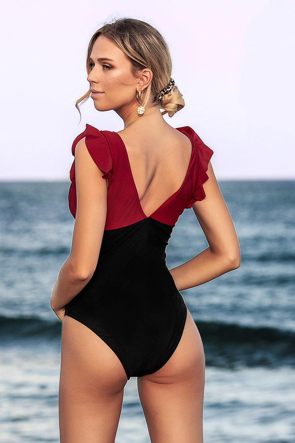 Red Black and Black Ruffled One-Piece Swimsuit