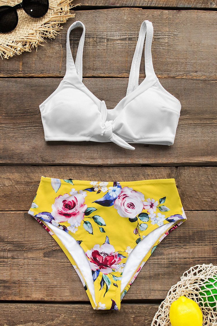 White and Yellow Floral Sporty High-Waisted Bikini