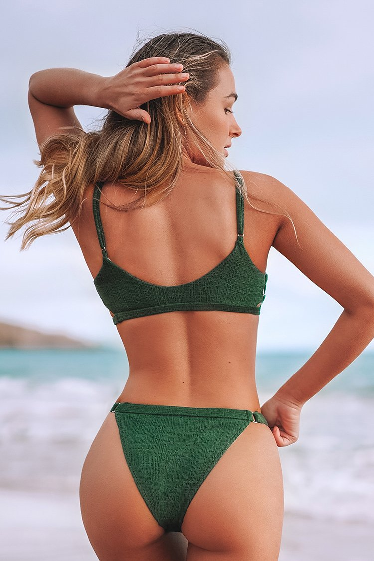 Green Cutout Textured Bikini