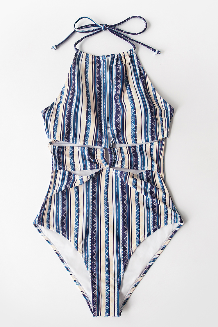 Boho Stripe Halter Cutout One-Piece Swimsuit