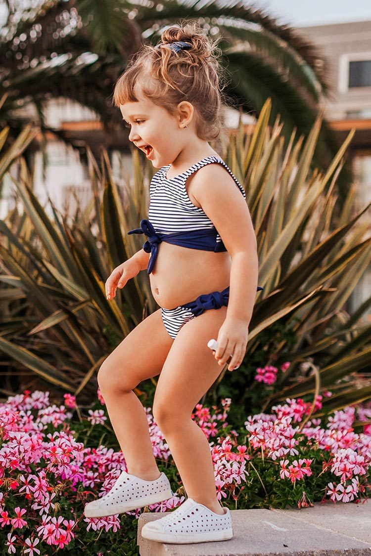 Navy Striped Bikini For Toddler Girls and Girls