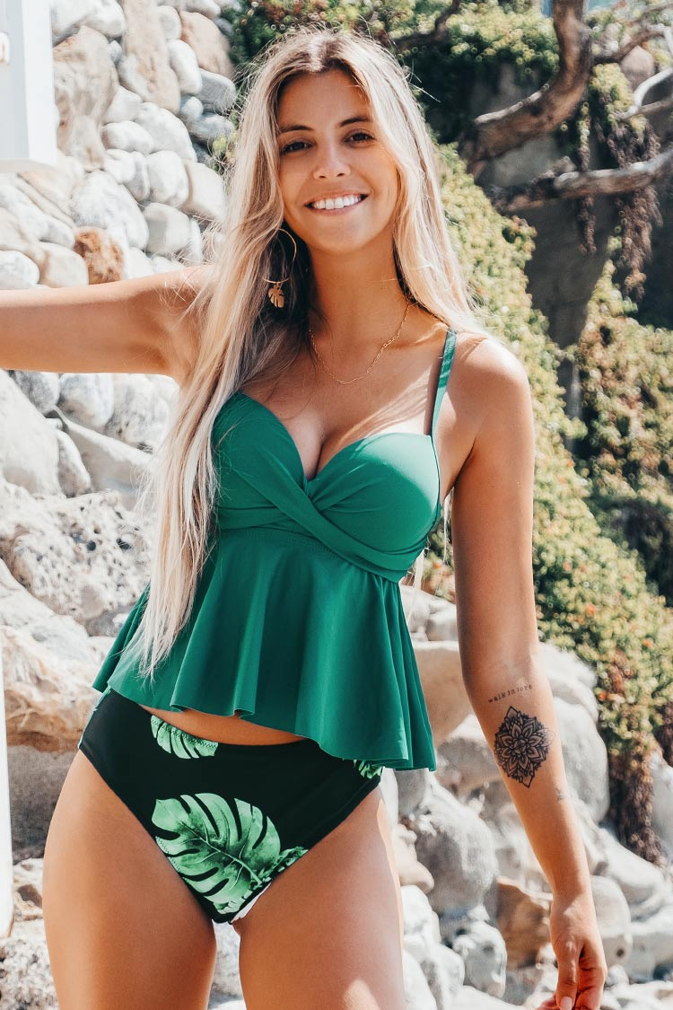 Green and Leafy Twist Tankini