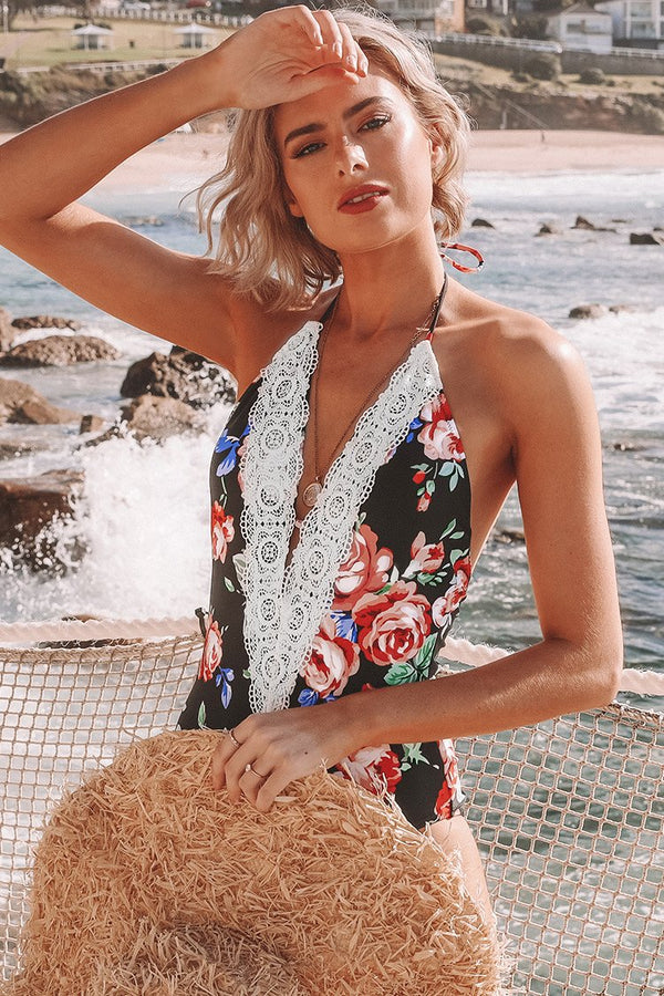 Crochet Trim Plunge One Piece Swimsuit
