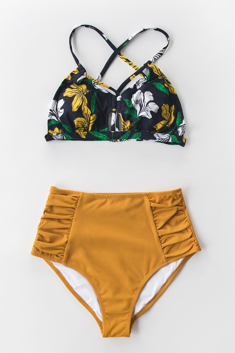 Floral and Solid Shirred High-Waisted Bikini