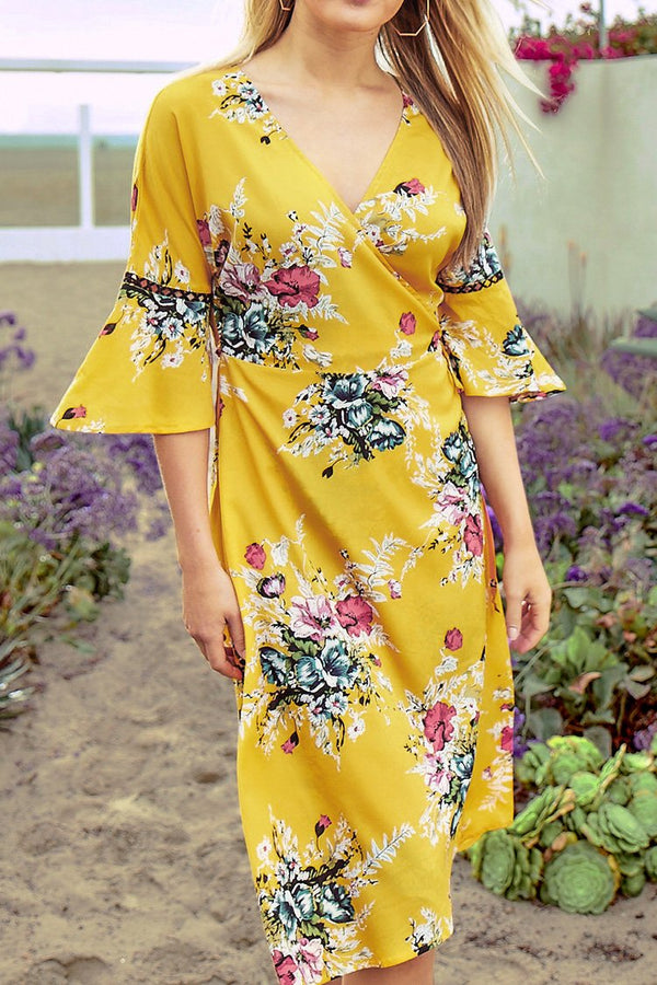 Yellow Floral Print Cross Strap Waist Dress