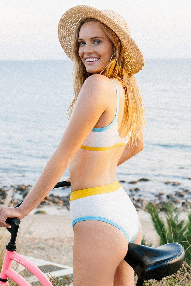 Sporty High-Waisted Color Trimmed Bikini