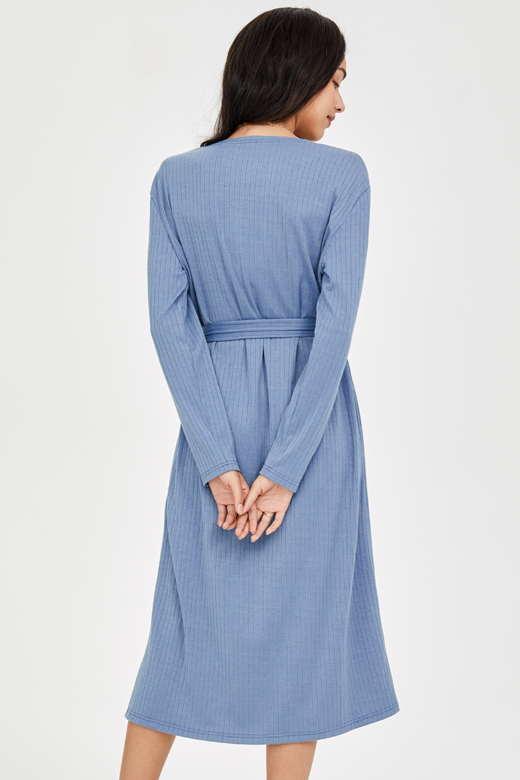 Blue Buttoned Long Sleeve Midi Dress