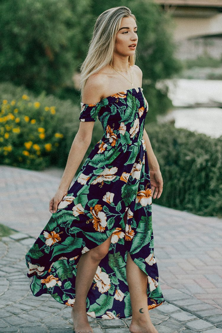 Tropical Hibiscus Smocked Off-the-Shoulder Maxi Dress