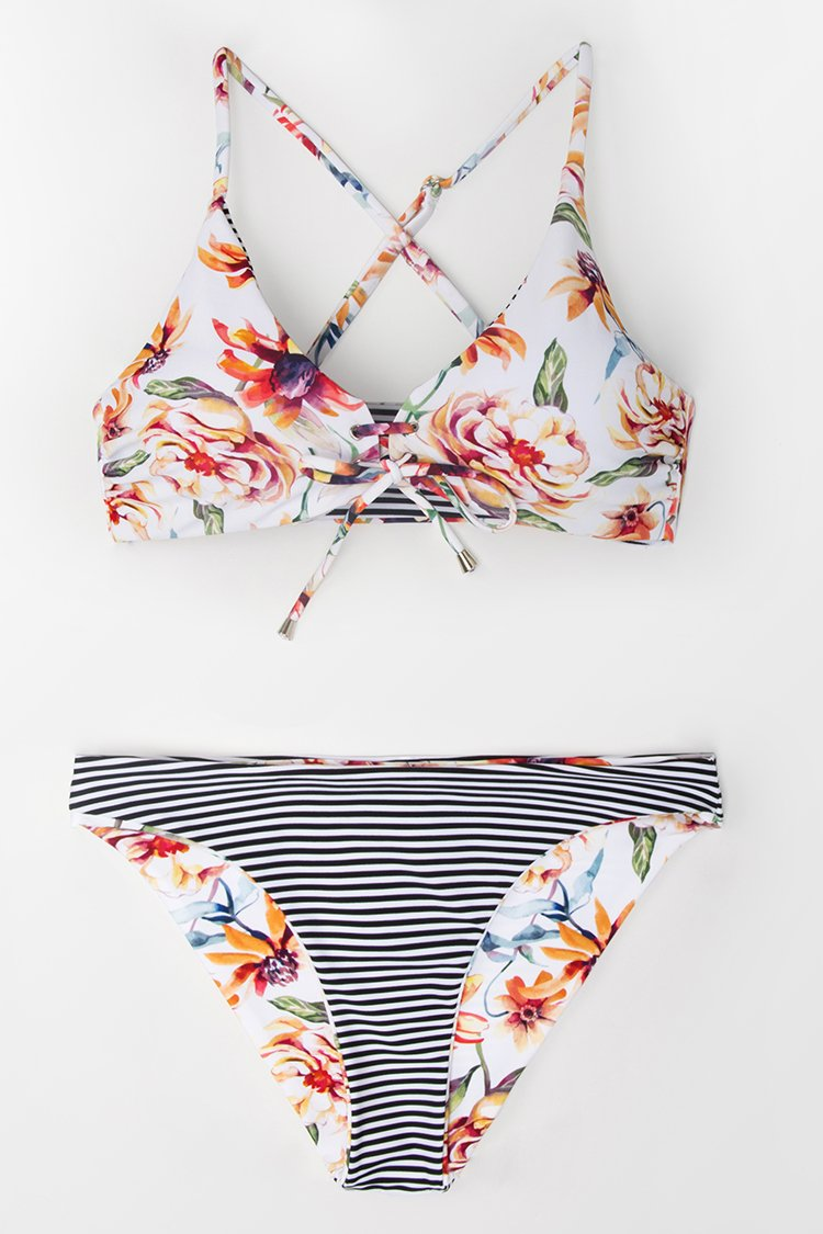 Floral And Striped Reversible Bikini