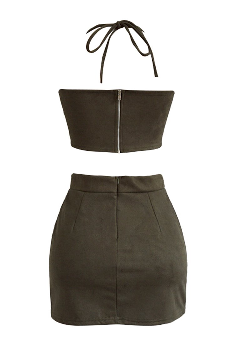 Olive Green Two Pieces Halter Dress
