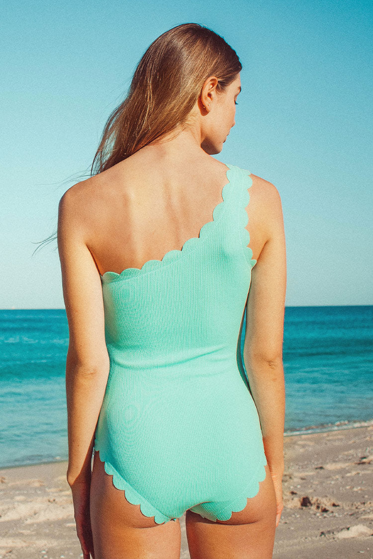 Aqua Scallop One-Shoulder One-Piece Swimsuit