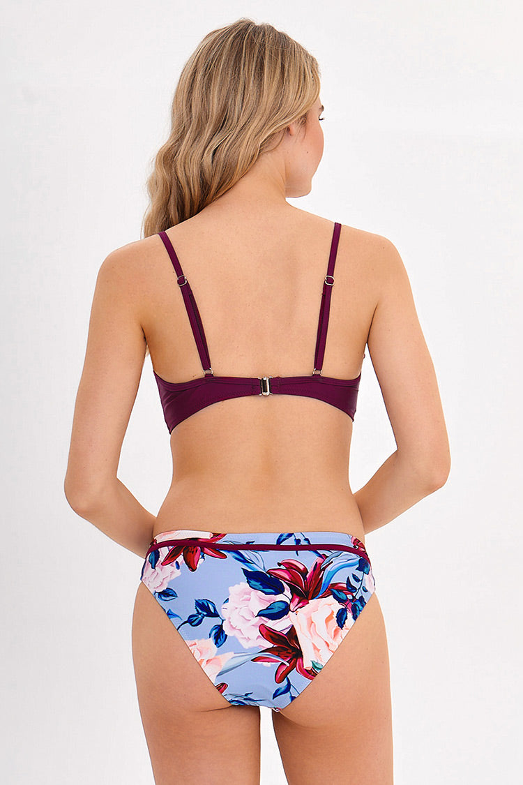 Plum And Floral Wrap Bikini