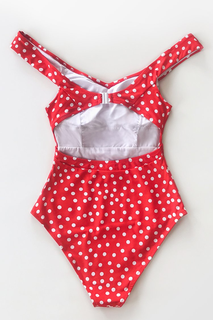 Red Polka Dot Belted One-Piece Swimsuit