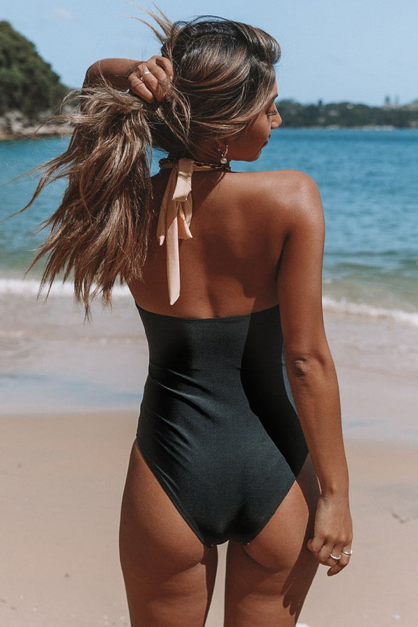 Peach and Black Colorblock Halter One-Piece Swimsuit