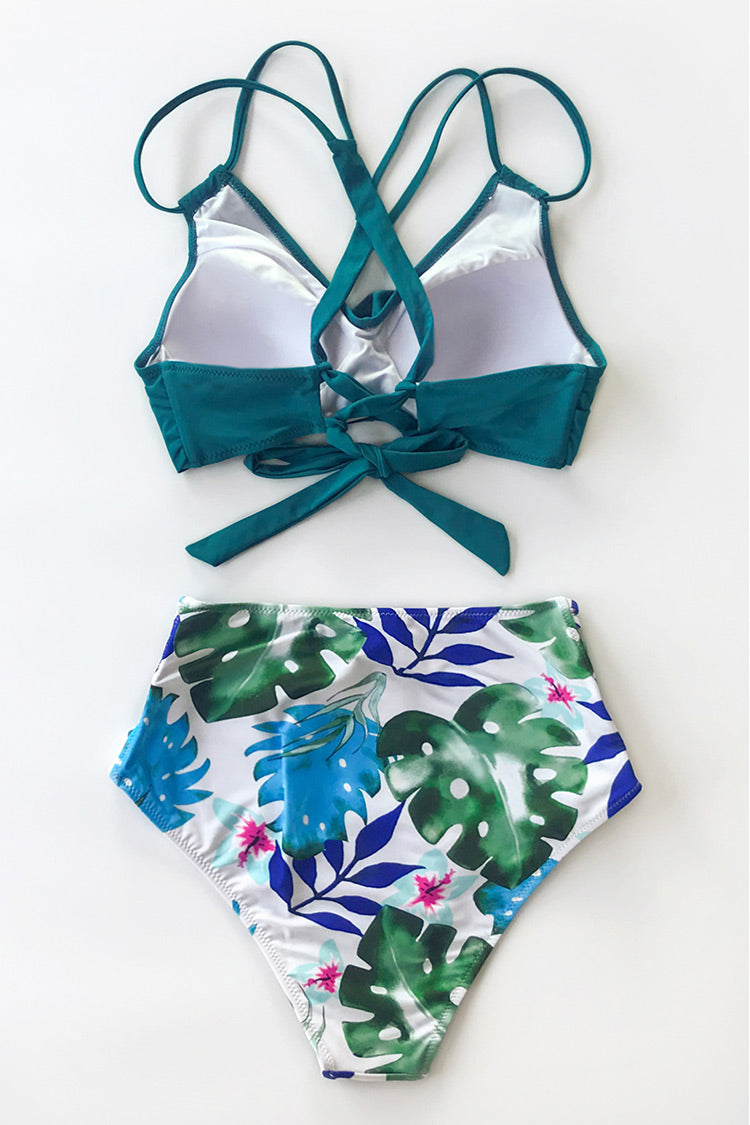 Tropical Palms Twist-Front High-Waisted Bikini