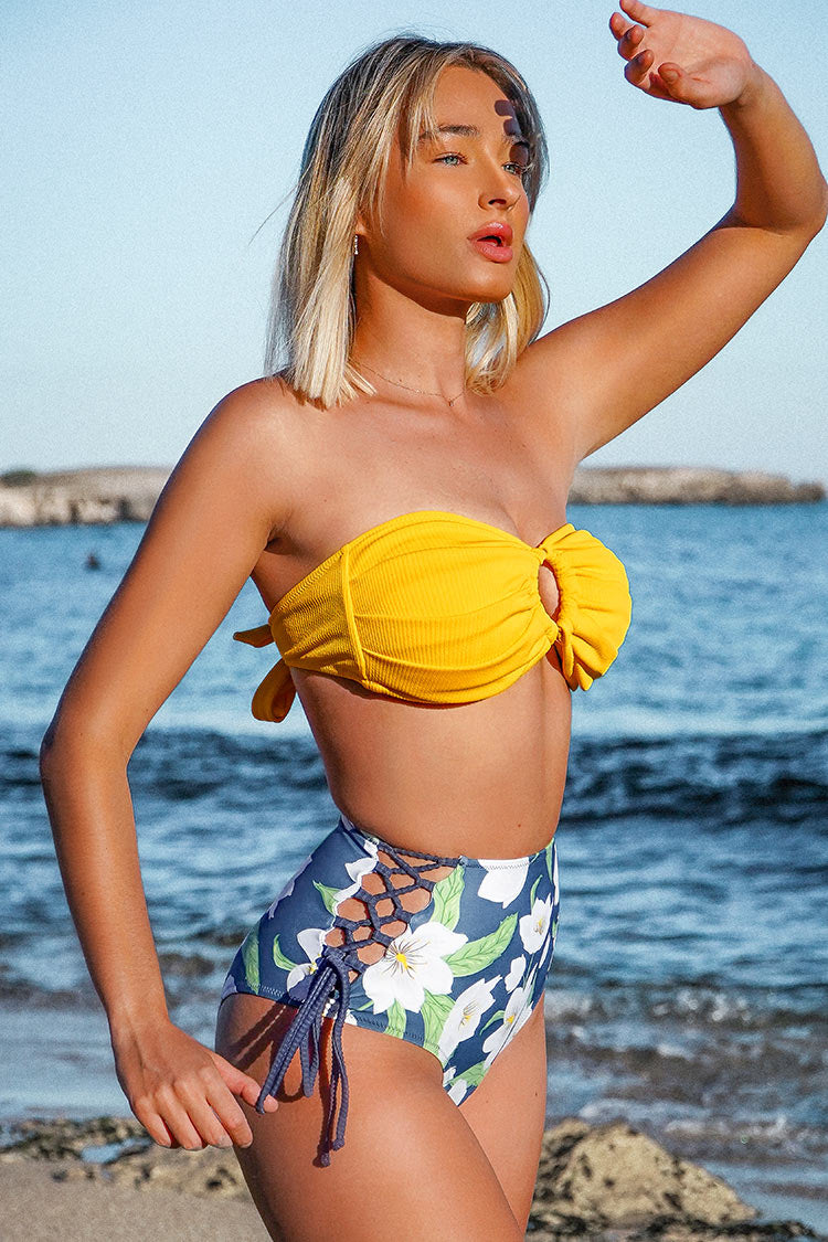 Floral Lace Up High Waisted Bikini Bottom