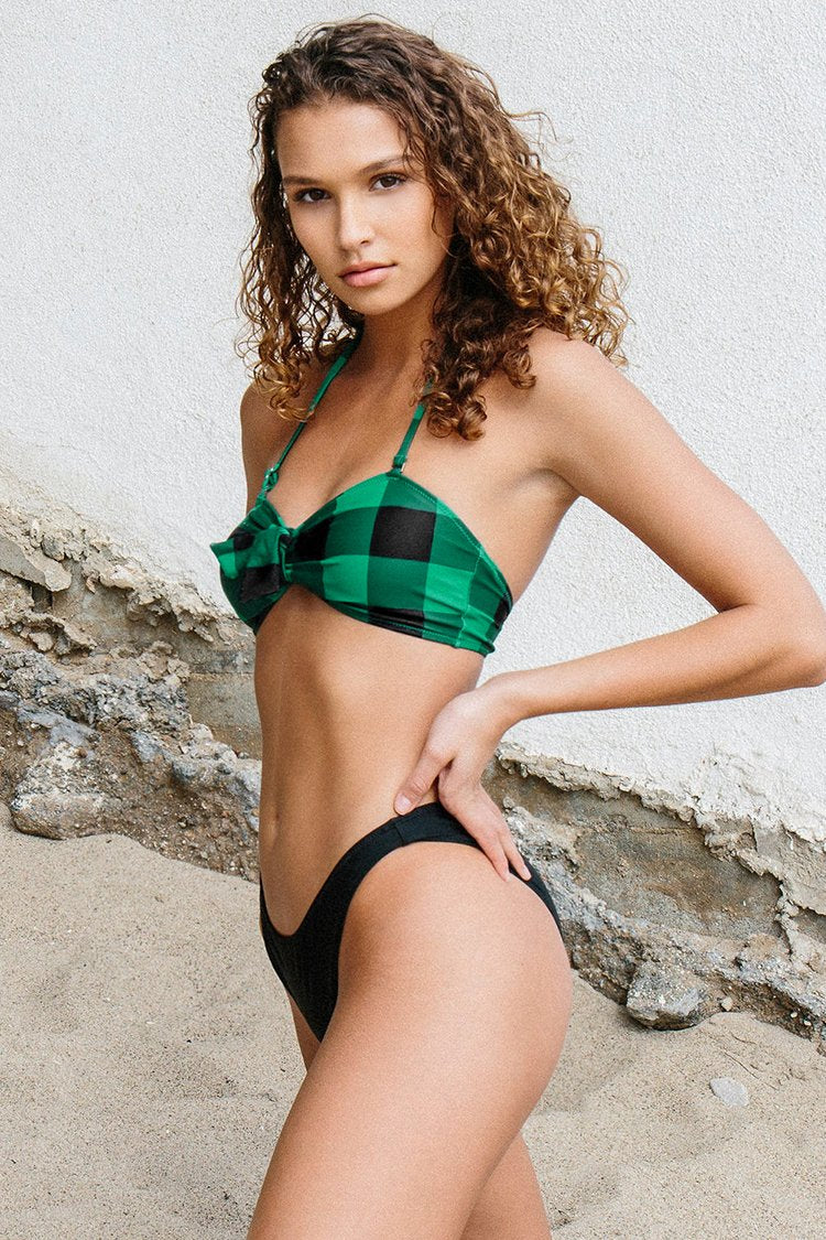 Green Plaid Bandeau Bikini