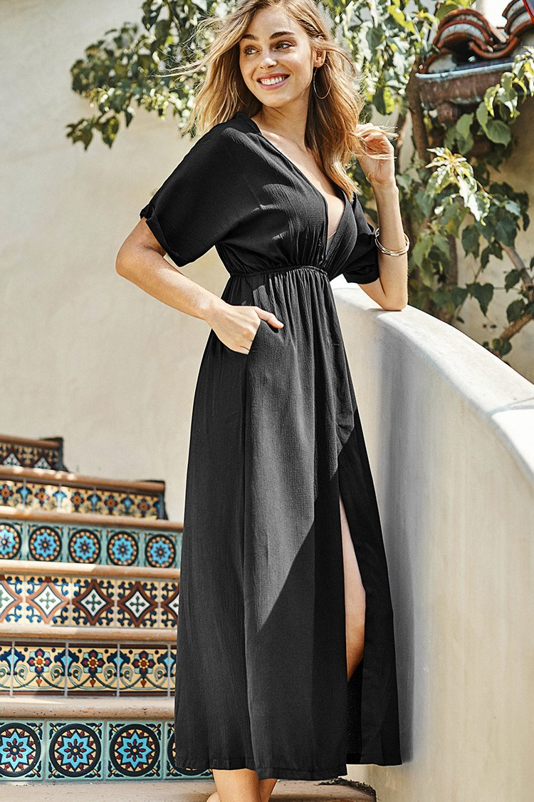 Solid V-neck Midi Dress