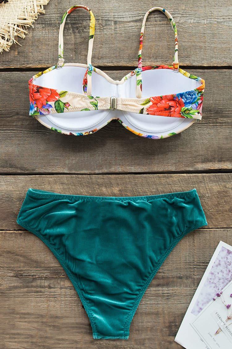 Floral Print Bikini with Textured Velvet Bottom