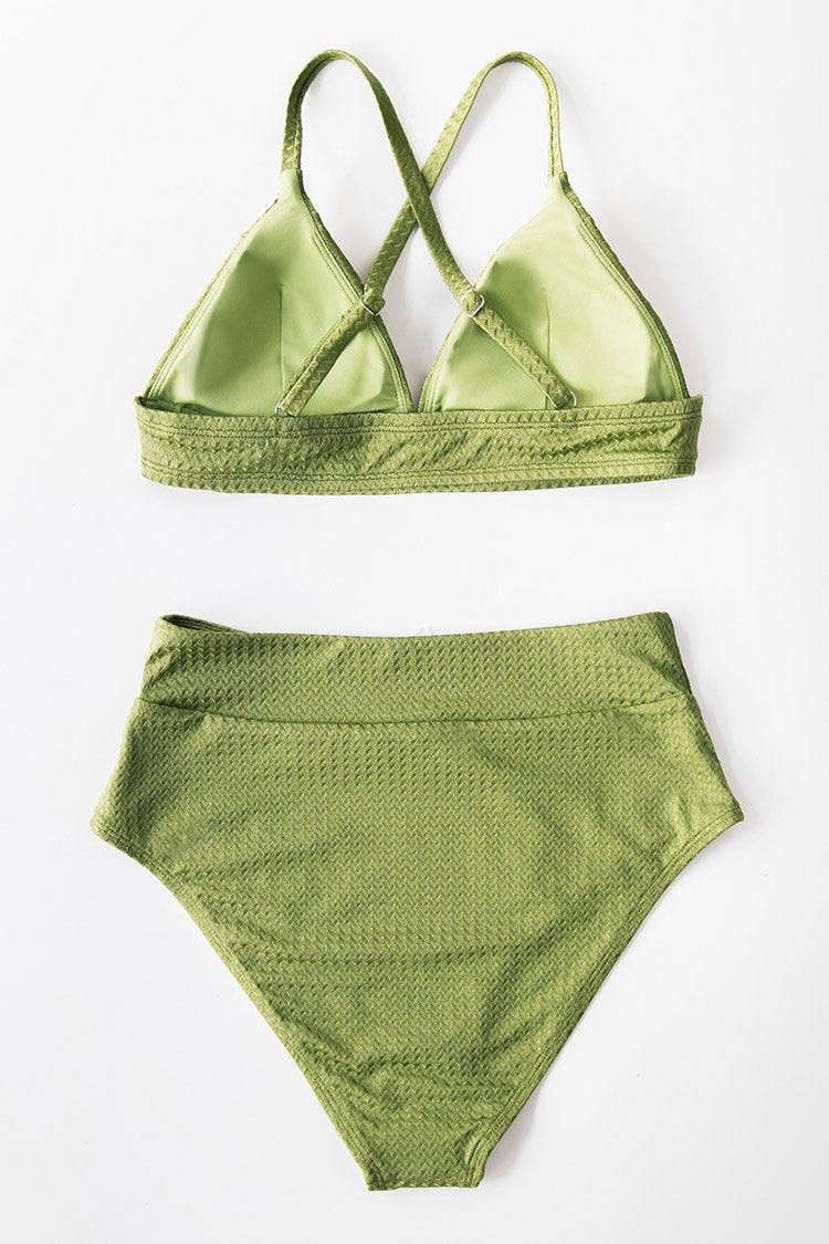 Green Textured High Waisted Bikini Bottom